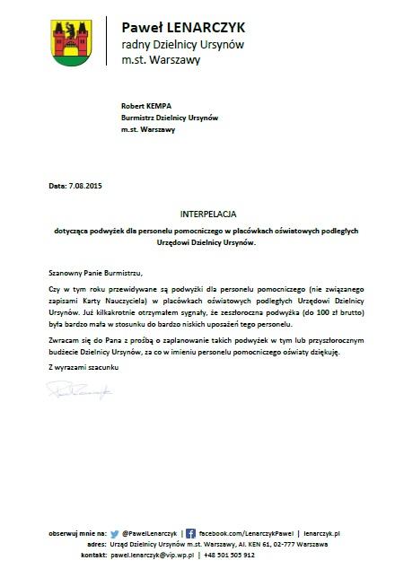 Personel_pomocniczy_podwyzki_interpelacja_Ursynów