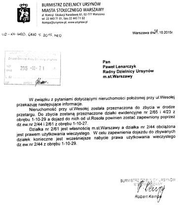 pismo_Burmistrza_Kempy_ws_zbycia_dzialki_przy_ul_wesolej