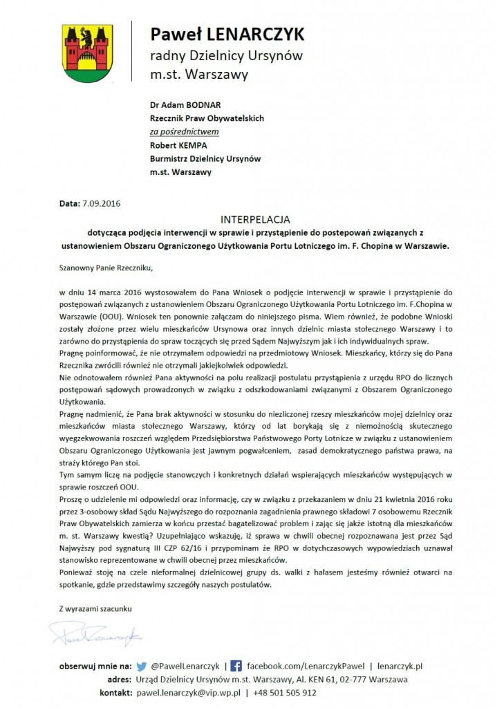 interpelacja_rzecznik_praw_obywatelskich_obszar_ograniczonego_uzytkowania_wrzesien_2016